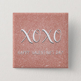 XOXO Valentine's Day Pink Rose Gold Sparkle 2 Inch Square Button