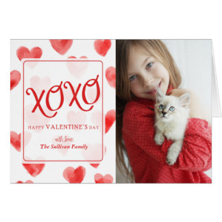 XOXO Watercolor Hearts Valentine's Day Card