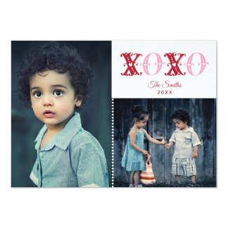 XOXO With Hearts Photo Valentine's Day Card