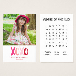 XOXO Word Search Game Photo Classroom Valentines Business Card