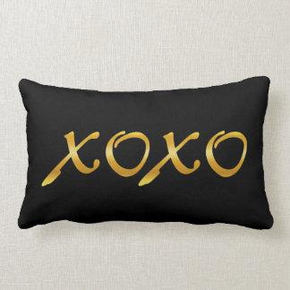 XOXO's in Gold & Black Lumbar Pillow