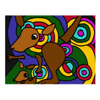 XX- Abstract Art Kangaroo Postcard