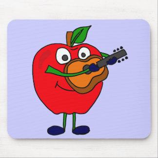 XX- Apple Playing Guitar Cartoon Mouse Pad