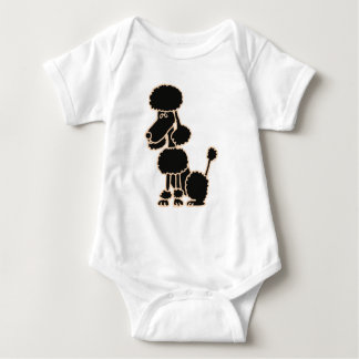 XX- Awesome Black Poodle Sitting Cartoon Baby Bodysuit