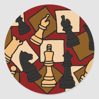 XX- Awesome Chess Game Pieces Art Classic Round Sticker