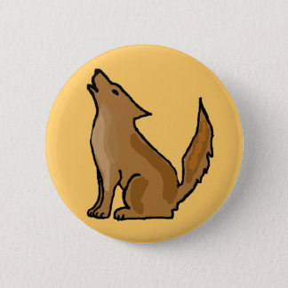 XX- Awesome Howling Coyote 2 Inch Round Button