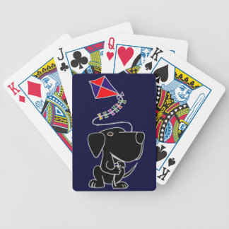 XX- Black Labrador Retriever Flying a Kite Cartoon Bicycle Playing Cards
