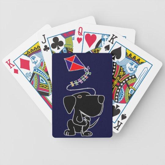 XX- Black Labrador Retriever Flying a Kite Cartoon Poker Deck