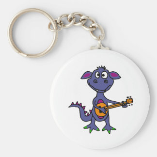 XX- Blue Monster Playing Banjo Cartoon Keychains