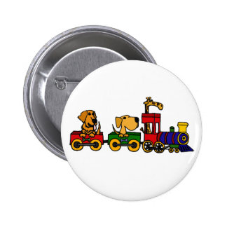 XX- Cartoon Train with Dogs and Giraffe 2 Inch Round Button