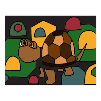 XX- Cute Box Turtle Abstract Art Post Cards