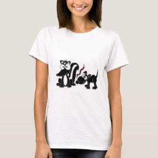 XX- Dog Sniffing Skunk Butt Cartoon T-Shirt