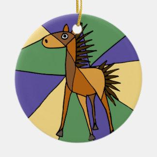 XX- Folk Art Horse Design Round Ceramic Ornament