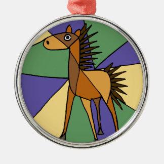 XX- Folk Art Horse Design Silver-Colored Round Ornament