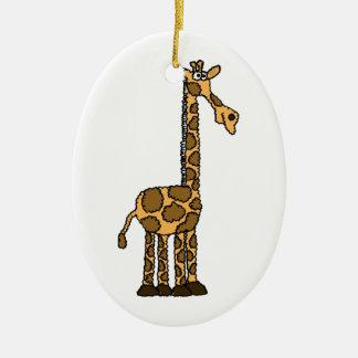 XX- Funky Giraffe cartoon Ceramic Oval Ornament