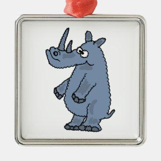 XX- Funny Blue Rhino Cartoon Silver-Colored Square Ornament