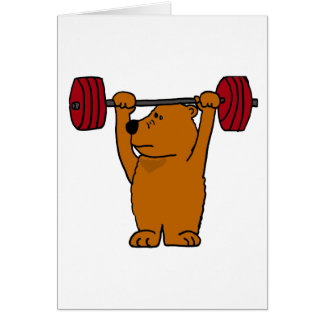XX- Funny Brown Bear Weight Lifting Card