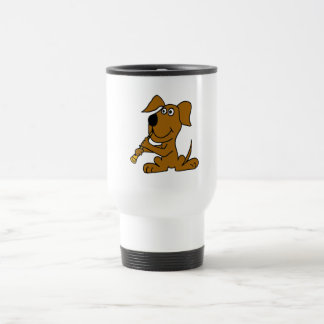 XX- Funny Brown Dog Playing the Clarinet Travel Mug