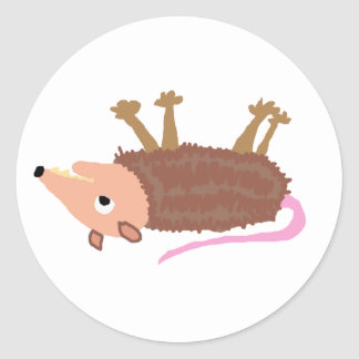 XX- Funny Dead Possum Roadkill Cartoon Classic Round Sticker