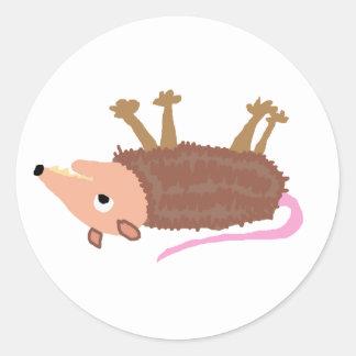 XX- Funny Dead Possum Roadkill Cartoon Round Sticker