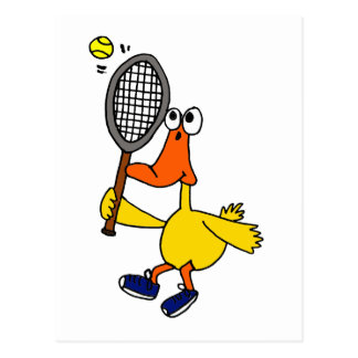 XX- Funny Duck Playing Tennis Postcard