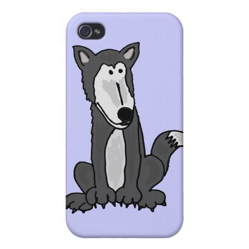 XX- Funny Goofy Grey Wolf iPhone 4 Cover