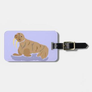 XX- Funny Primitive Art Walrus Luggage Tag