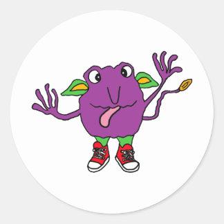 XX- Funny Purple Tickle Monster Round Sticker