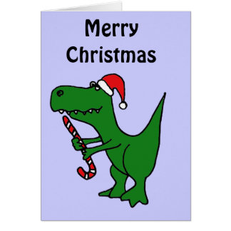 XX- Funny T-rex Dinosaur Wearing Santa Hat Card