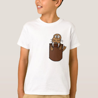 XX- Funny Walrus in a Pocket Cartoon T-Shirt