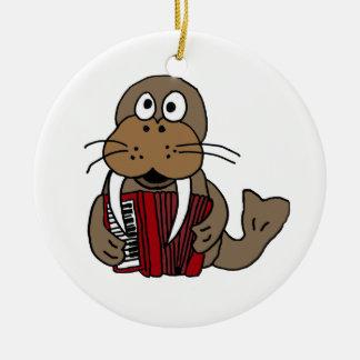 XX- Funny Walrus Playing Accordion Cartoon Round Ceramic Ornament