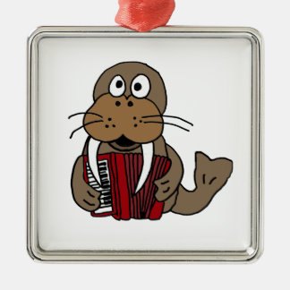 XX- Funny Walrus Playing Accordion Cartoon Silver-Colored Square Ornament