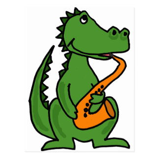XX- Gator Playing Saxophone Postcard