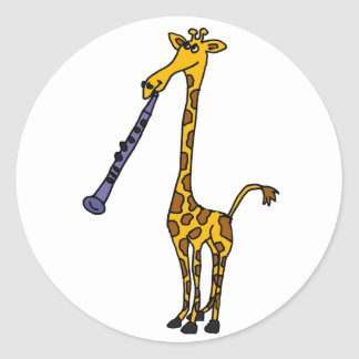 XX- Giraffe Playing the Clarinet Classic Round Sticker