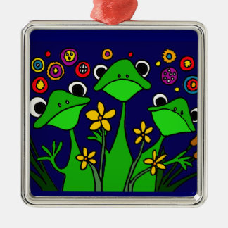 XX- happy Frogs Folk Art Design Christmas Tree Ornaments