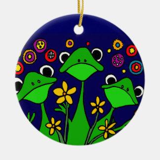 XX- happy Frogs Folk Art Design Round Ceramic Ornament