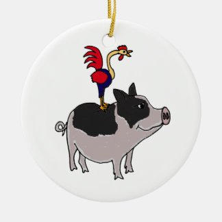 XX- Pig and Rooster Folk Art Round Ceramic Ornament