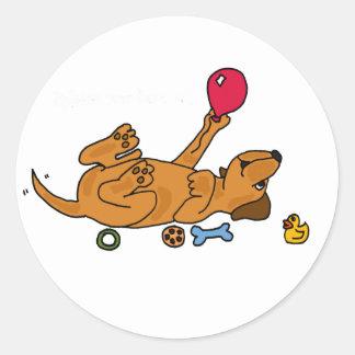 XX- Playful Silly Puppy Dog Classic Round Sticker