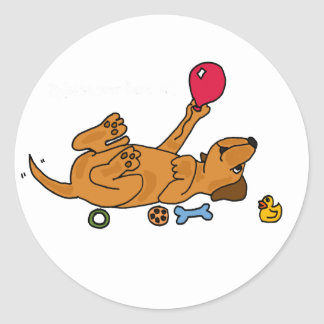 XX- Playful Silly Puppy Dog Round Sticker