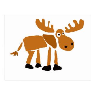 XX- Primitive Art Moose Postcard