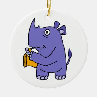 XX- Rhino Playing Saxophone Round Ceramic Ornament