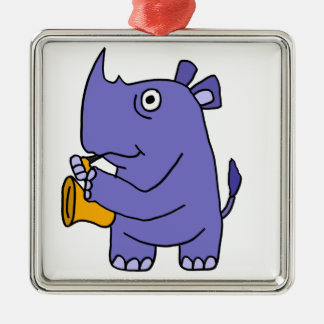 XX- Rhino Playing Saxophone Silver-Colored Square Ornament