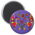 XX- Roosters and Flowers Folk Art 2 Inch Round Magnet