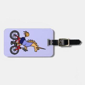 XX- Unicorn Riding Bicycle Cartoon Luggage Tag