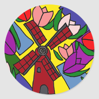XX- Windmill and Tulips Floral Art Classic Round Sticker