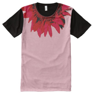 XXL Red Sunflower accenting black and pink All-Over-Print T-Shirt