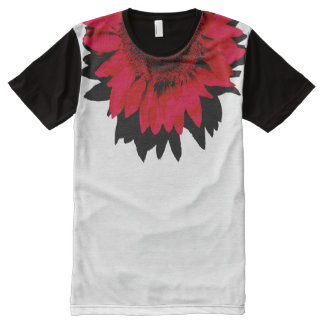 XXL Red Sunflower Black and White All-Over-Print T-Shirt