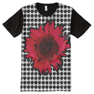 XXL Red Sunflower on Black Sunflower Motif All-Over-Print T-Shirt