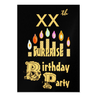 XXth SURPRISE Birthday Party Invitation - GOLD