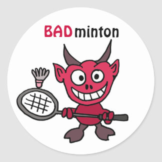 XY- Devil Playing BADminton Cartoon Classic Round Sticker